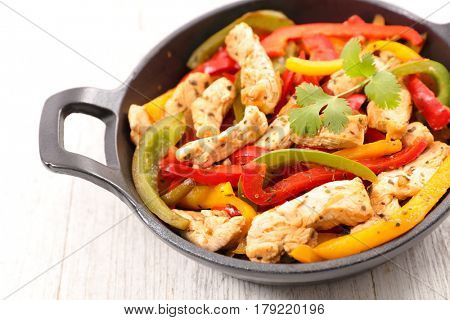 chicken fajita,chicken fillet fried with bell pepper