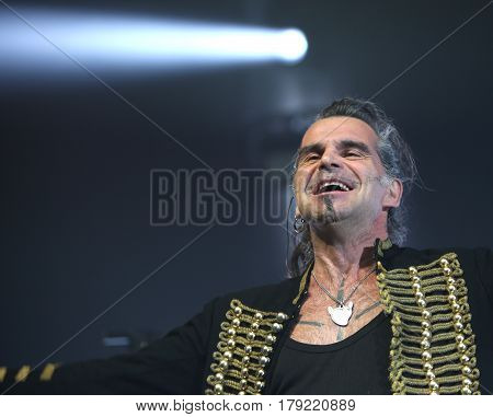Padua Padova PD Italy - March 29 2017: Piero Pelu the vocalist of Litfiba an Italian Rock Band on the stage during the live concert at Padua in Italy