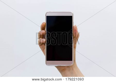 Cropped Shot View Of Woman's Hands Holding Smart Phone With Blank Copy Space Screen For Your Text Me