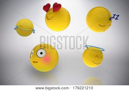 Three dimensional image of miscellaneous emoticons reactions against grey background 3d