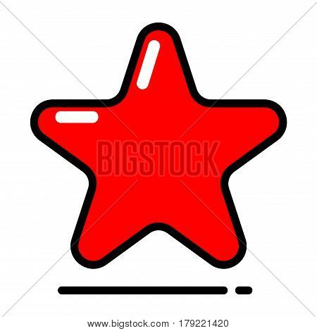 Red star icon vector, favorite, best rating, Award symbol isolated on white background. Trendy modern style for graphic design, Web site.