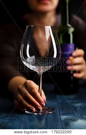 Woman In Depression, Drinking Alcohol On Dark Background