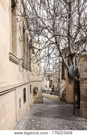 Street of the old city (Icheri Shahar) in Baku located in the Central part of Azerbaijani capital