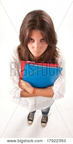 Isolated image of an angry young girl holding some folders
