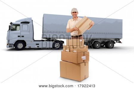 Isolated image of a messenger delivering a lot of boxes with a trailer truck in the background
