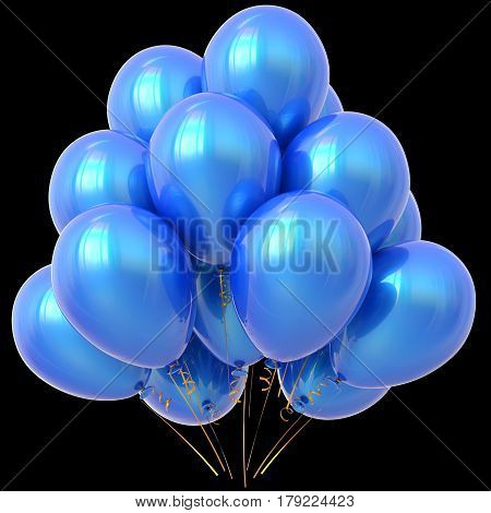 Blue party balloons happy birthday decoration cyan glossy.  3D illustration isolated on black