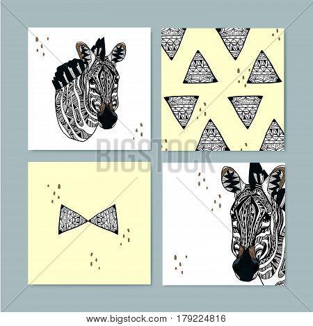 Modern Geometric Style Zebra Memo Design
