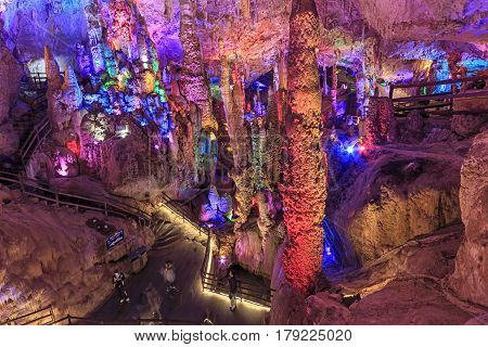 Cave In The Jiuxiang Scenic Region In Yunnan In China. Thee Jiuxiang Caves Area Is Near The Stone Fo