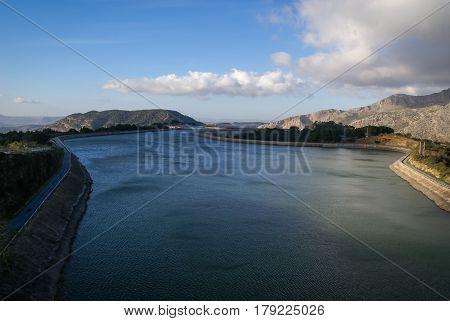 Landscape with a lake near Garganta del Chorro, Andalusia, Spain