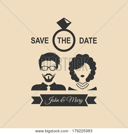 Vintage wedding romantic invitation card with ribbon, ring, bride and groom in flat style. Save the Date invite in vector.