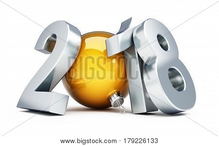 Happy new year 2018  holiday 3d Illustrations