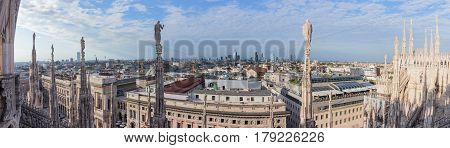Panoramic View Of Milan From Roof Of Cathedral Of Milan