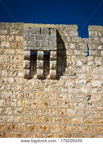 Oudoor wall elements of a medieval castle, Spain
