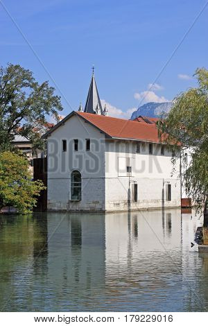 building by a canal in Annecy, France