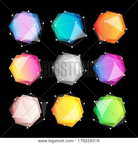 Unusual abstract geometric shapes vector logo set. Polygonal colorful logotypes collection on the black background