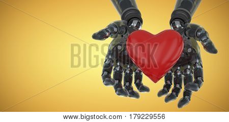Three dimensional image of robot holding heart shape decoration against yellow vignette 3d