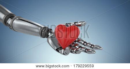 3d image of cyborg holding heard shape decoration against purple vignette 3d