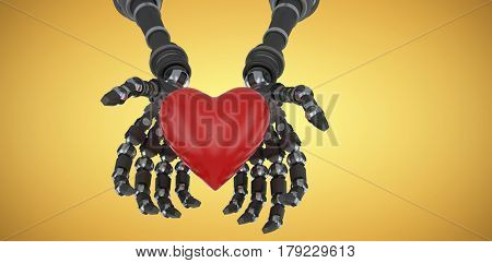 Three dimensional image of robot hand holding red heard shape against yellow vignette 3d