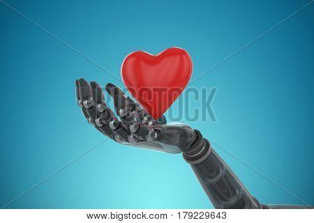 3d image of bionic person holding heard shape decoration against blue vignette background