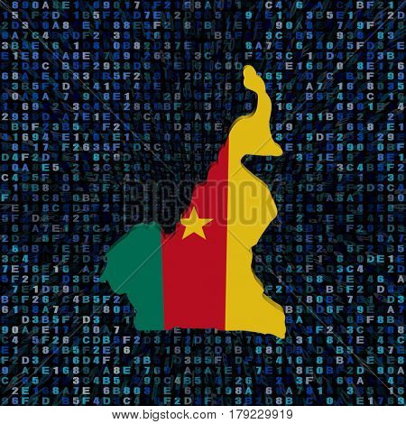 Cameroon map flag on hex code 3d illustration