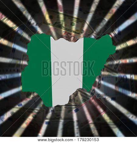 Nigeria map flag on currency burst 3d illustration