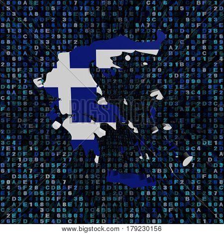 Greece map flag on hex code 3d illustration
