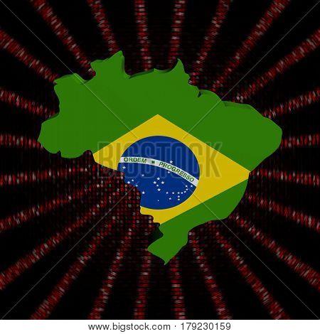 Brazil map flag on red hex code burst 3d illustration