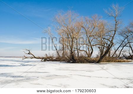 Winter landscape on a big Ukrainian river Dnepr near Dnepropetrovsk city.