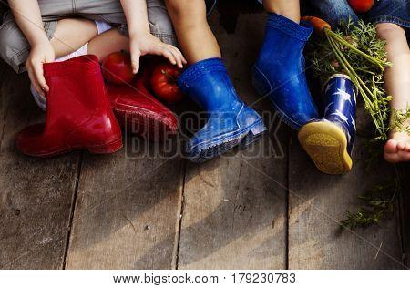 Diversity Group Of Kids Sitting Together Vegetables Fruits