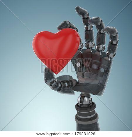 3d image of cyborg holding heard shape against grey vignette