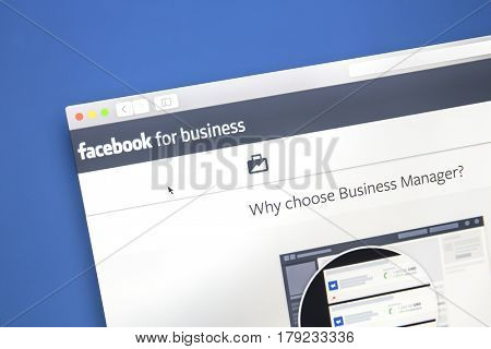 Ostersund, Sweden - Mars 29, 2017: Closeup of Facebook business page. Facebook is the most visited social network in the world
