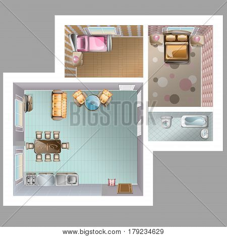 Living room, kitchen, two, bedrooms and bathroom furniture top view vector.