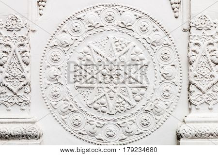 Bas-reliefs and sculptural details in the design of stone art in the pavilions of the exhibition VDNH in Moscow