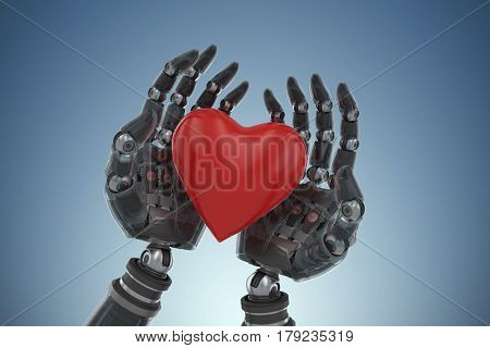 Three dimensional image of cyborg holding heart shape decoration against purple vignette 3d