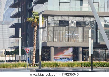 DUBAI UNITED ARAB EMIRATES - 2017: Rolls-Royce Boutique in City Walk Dubai UAE.
