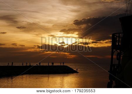 Beautiful sunset and clouds sea ocean horizon