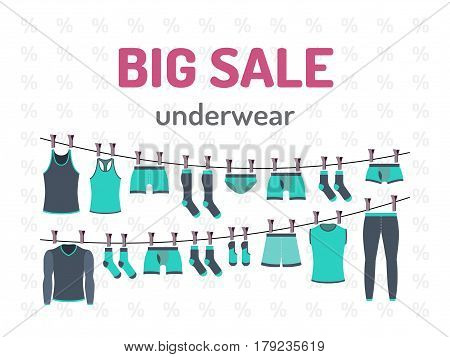 Banner sale underwear with great discounts in vector, flat style. Flyer design for shop men underwear