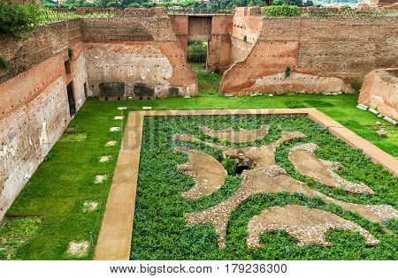 ROME, ITALY - OCTOBER 1, 2012: Ruins of House of Augustus at the Palatine Hill.