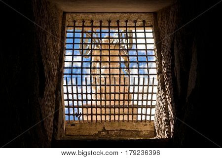 ROME, ITALY - OCTOBER 2, 2012: View of archangel Michael statue from within Castel Sant'Angelo.