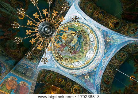 ST PETERSBURG, RUSSIA - JUNE 13, 2014: Ceiling of Church of the Savior on Spilled Blood (Cathedral of the Resurrection of Christ) in Saint Petersburg. It is an architectural landmark of city and a unique monument to Alexander II the Liberator.