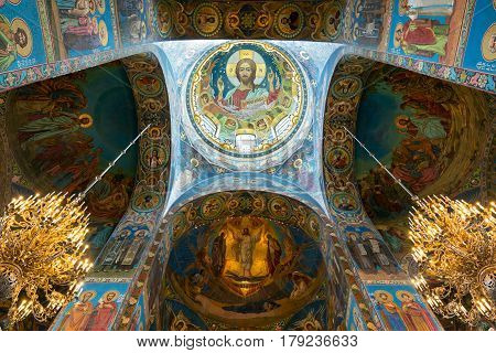 ST PETERSBURG RUSSIA - JUNE 13, 2014: Interior of Church of the Savior on Spilled Blood (Cathedral of the Resurrection of Christ). It is an architectural landmark of city and a unique monument to Alexander II the Liberator.