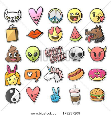 Stickers pins, patches collection in cartoon comic style, vector illustration.