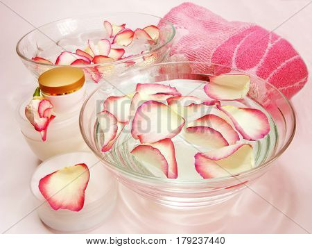 spa hair mask creme towel essenses and rose petals