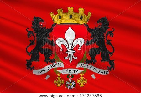 Flag of Lille it is the capital of the Hauts-de-France region and the prefecture of the Nord department in French Flanders. 3d illustration poster