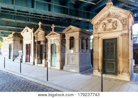PARIS, FRANCE - SEPTEMBER 24, 2013: The famous Montmartre Cemetery in Paris.