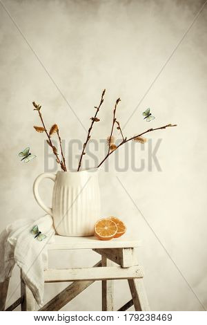 Spring still life with jug of catkin sprigs on step ladder with plenty of copy space
