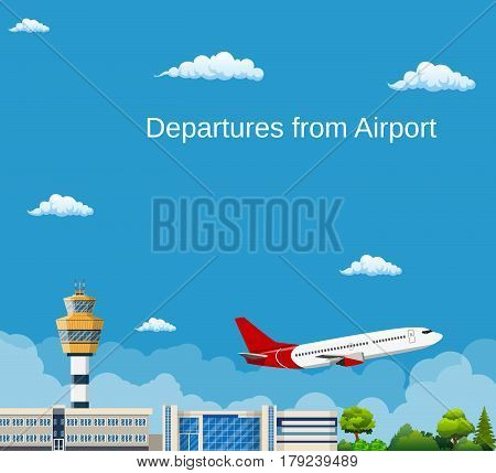 Airplane Takes Off from the Airport , Control Tower and Airplane , Travel and Tourism Concept. Vector illustration in flat style