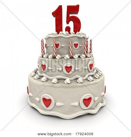 3D rendering of a multi-tiered cake with a number fifteen on top