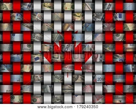 Interwoven Canadian flag and currency 3d illustration