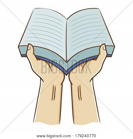 Vector stock of two hand holding an open book